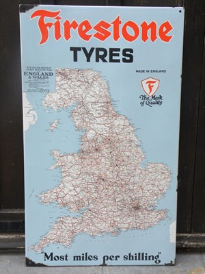 Lot 23 - Firestone Tyres Pictorial 'Map' Enamel Sign