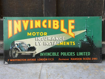 Lot 27 - Invincible Motor Insurance Tin Sign