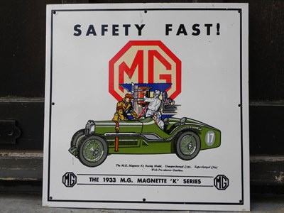 Lot 73 - A Reproduction MG Enamel Sign