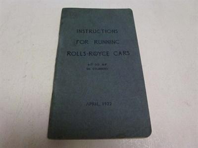 Lot 2 - Rolls-Royce Instruction Booklet, 1922