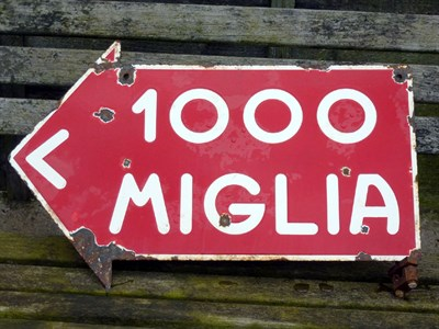 Lot 7 - A Rare Mille Miglia Enamel Hanging Sign