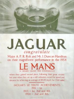 Lot 9 - A Rare Original Jaguar 1954 Le Mans Victory Poster