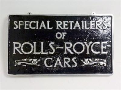 Lot 20 - Rolls-Royce Cast Aluminium Hanging Sign