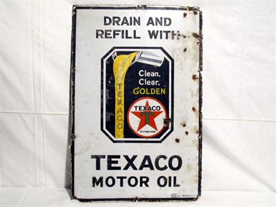 Lot 1-'Texaco Motor Oil' Pictorial Enamel Advertising Sign (R)