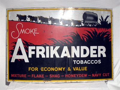 Lot 6-'Smoke Afrikander Tobaccos' Large-Format Pictorial Enamel Advertising Sign (R)