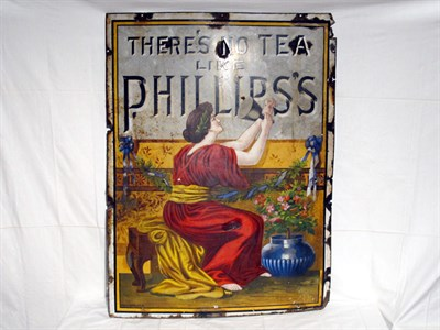 Lot 10-'Phillips's Tea - There's No Tea like Phillips's' Large-Format Pictorial Enamel Advertising Sign (R)