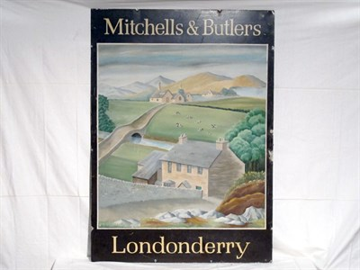 Lot 12-'Mitchells & Butlers , Londonderry' Large-Format Pictorial Brewery Metal Advertising Sign (R)