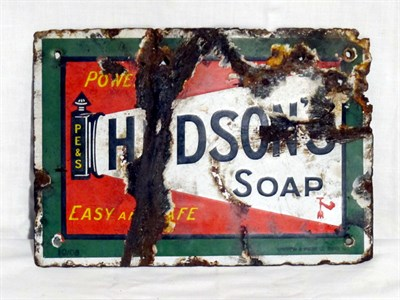 Lot 17-'Hudsons Soap' Small-Format Pictorial Enamel Advertising Sign (R)
