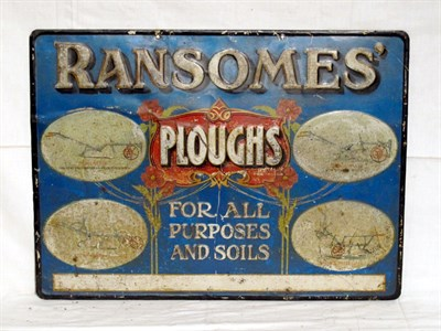 Lot 26-'Ransome's Ploughs' Embossed Pictorial Tin Advertising Sign (R)