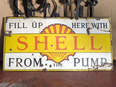 Lot 34-'Shell From the Pump' Large-Format Early Shell Enamel Advertising Sign (R)