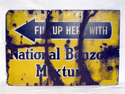 Lot 38-'National Benzole Mixture' Enamel Advertising Sign (R)
