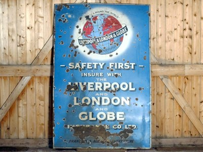 Lot 39-'Liverpool, London & Globe Insurance Co. Ltd' Large-Format Pictorial Enamel Advertising Sign (R)