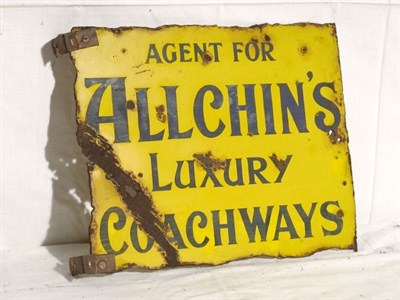 Lot 42-'Allchin's Luxury Coachways' Enamel Advertising Sign (R)