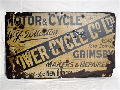 Lot 47-'Tower Cycle Co. Ltd Motorcycle Repairers & Restorers' Single-Sided Enamel Advertising Sign (R)