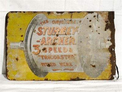 Lot 48-'Sturmey Archer Hubs' Pictorial Enamel Advertising Sign (R)