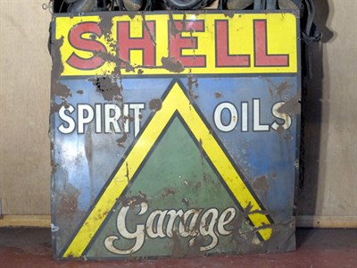 Lot 51-'Shell Spirit, Oils, Garage' Large-Format Enamel Advertising Sign (R)