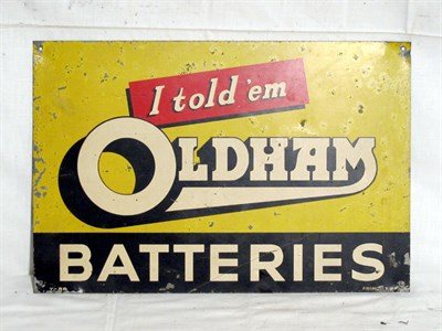 Lot 69-'Oldham Batteries' Single-Sided Aluminium Advertising Sign (R)