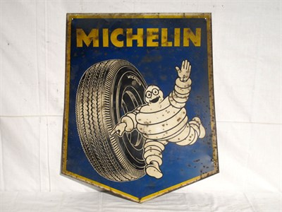 Lot 71-'Michelin' Shield-Shaped Lithograph Tin Advertising Sign (R)