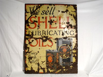 Lot 74-'We Sell Shell Lubricating Oils' Enamel Advertising Sign (R)