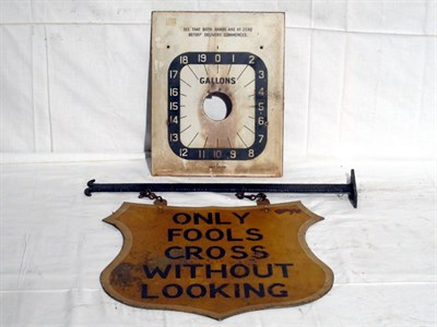Lot 89 - 'Only Fools Cross Without Looking' Hanging Shield-Shaped Tin Sign (R)