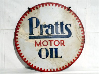 Lot 91-'Pratts Motor Oil' Circular Enamel Advertising Sign (R)