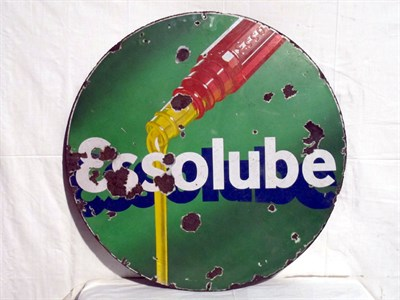 Lot 1 - 'Essolube Circular' Enamel Advertising Sign