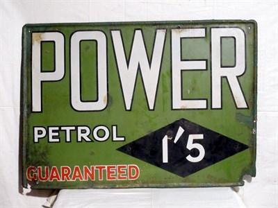 Lot 6 - 'Power Petrol' Enamel Advertising Sign