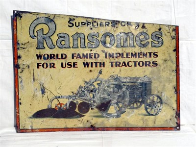 Lot 7-'Ransomes Implements For Tractors' Pictorial Tin Advertising Sign