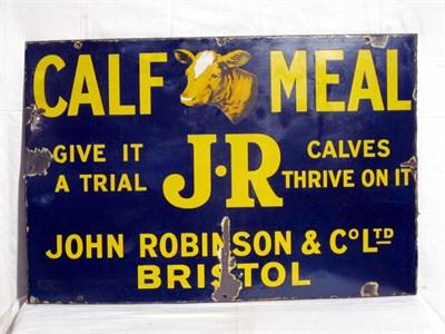 Lot 9 - 'J.R. Calf Meal' Enamel Advertising Sign