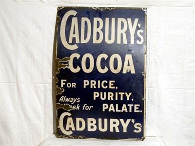 Lot 18 - 'Cadburys Cocoa' Enamel Advertising Sign