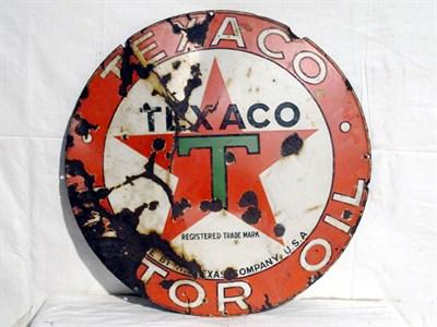 Lot 25 - 'Texaco Motor Oil' Circular Advertising Sign