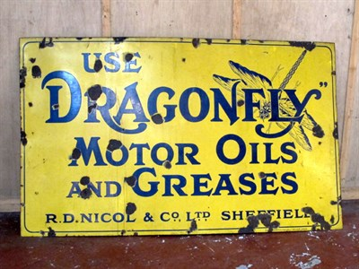 Lot 30-'Dragonfly Oils and Greases' Pictorial Enamel Advertising Sign