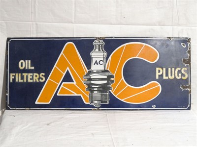 Lot 32-'AC Sparking Plugs' Pictorial Enamel Advertising Sign