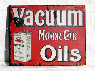 Lot 42 - 'Mobiloil Vacuum Motor Car Oils' Enamel Advertising Sign