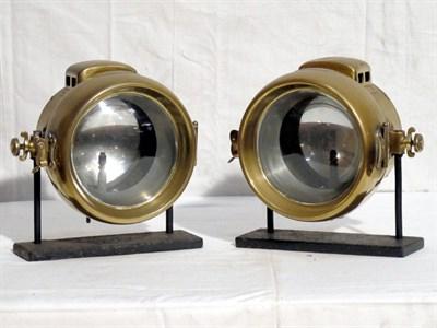 Lot 44 - Pair of 'Powell & Hammer' Brass Headlamps