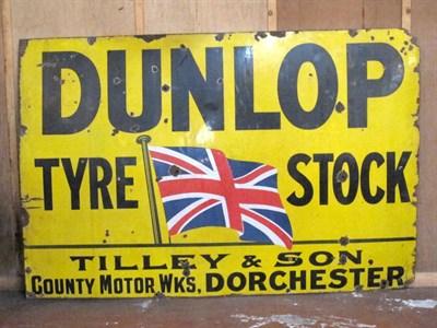 Lot 46 - 'Dunlop Tyre Stock' Enamel Advertising Sign
