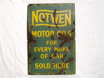 Lot 52 - 'Notwen Motor Oils' Enamel Advertising Sign