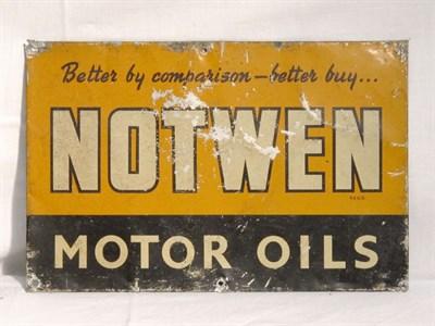 Lot 64 - 'Notwen Motor Oils' Tin Advertising Sign