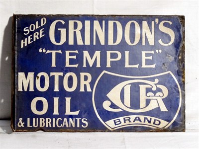 Lot 77 - 'Grindon's Temple Motor Oil' Enamel Advertising Sign