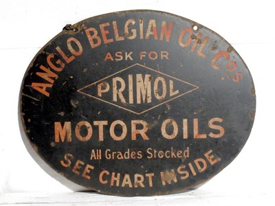 Lot 92-'Primol (Anglo Belgium Oil Co.)' Enamel Advertising Sign