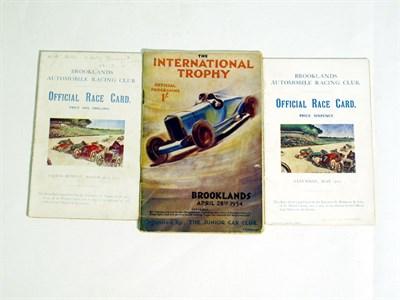 Lot 1 - Three Brooklands Race Cards