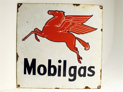Lot 71 - A 'Mobil Gas' Pictorial Enamel Advertising Sign