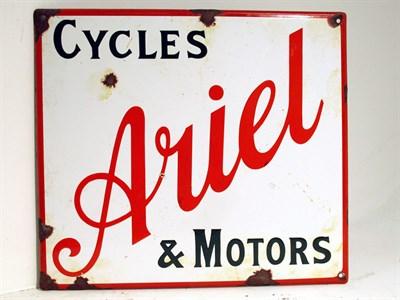 Lot 82 - An Ariel 'Cycles and Motors' Enamel Sign