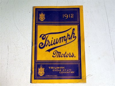 Lot 86-A Sales Catalogue for the 'Triumph Motorcycles 1912 Range'