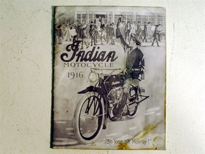 Lot 87-A Sales Brochure for the 1916 Indian Motorcycle Range