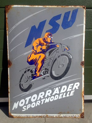 Lot 1 - Rare NSU Motorcycles Pictorial Enamel Sign