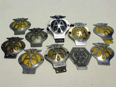 Lot 83 - Ten AA Automobile Association Car Badges