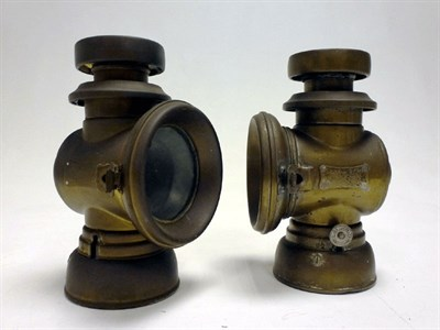 Lot 1 - A Pair of Lucas 'King's Own' Brass Side Lamps