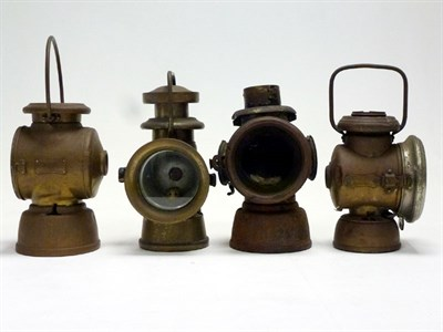 Lot 5 - Four Brass Side Lamps for Restoration