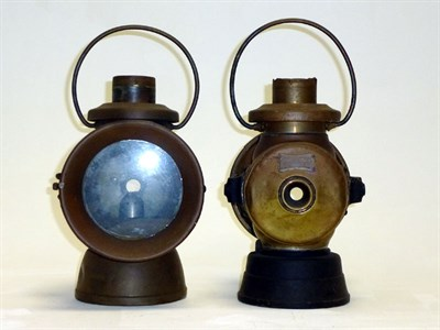 Lot 9 - A Large Pair of Lucas 'King of the Road' Side Lamps